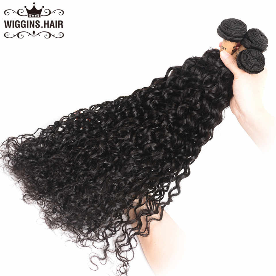 Water Wave Bundles With 5x5 Closure Wiggins Peruvian Human Hair 3 Bundles With Closure Natural Remy Swiss Lace Closure