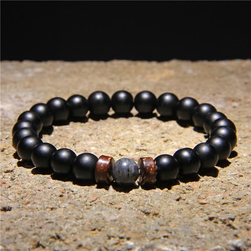 Men Bracelet Natural Moonstone Beads Tibetan Buddha Bracelet Vintage Chakra Volcanic Lava Stone Charm Bracelet Men Jewelry