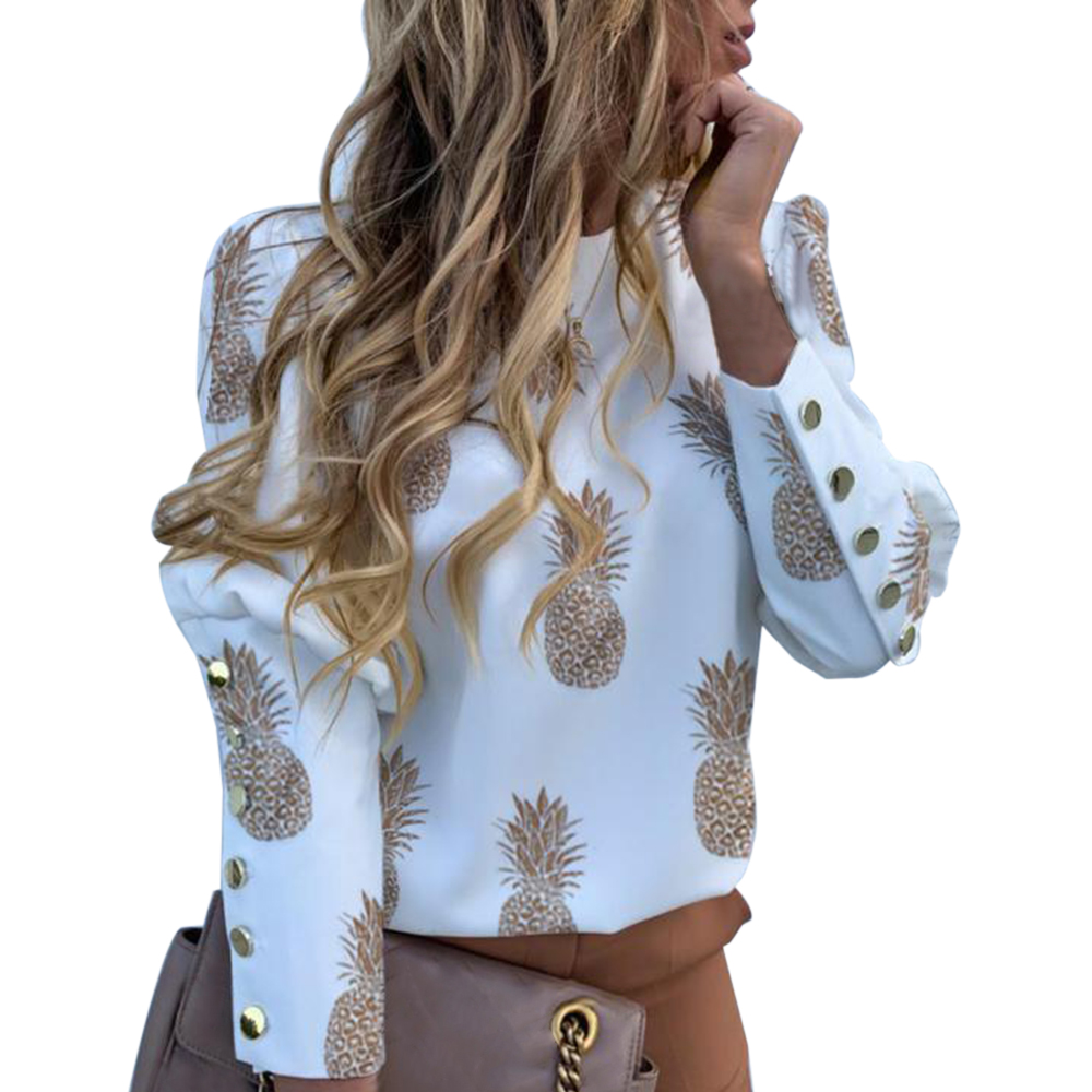 2020 Spring Women Puff Shoulder Blouse Shirts Office Metal Buttoned Detail Blouses Women Pineapple Print Long Sleeve Tops