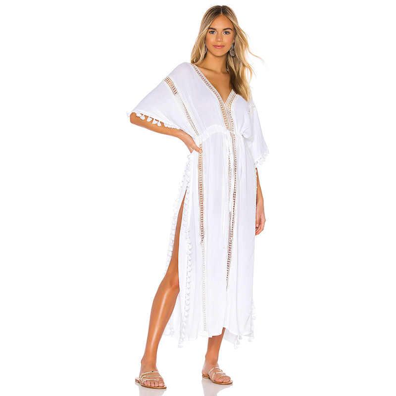 Fitshinling Lace Splice Fringe vestido largo playa bohemio cuello en V hendidura lateral Sexy traje de baño salida Batwing manga blanco Maxi vestidos