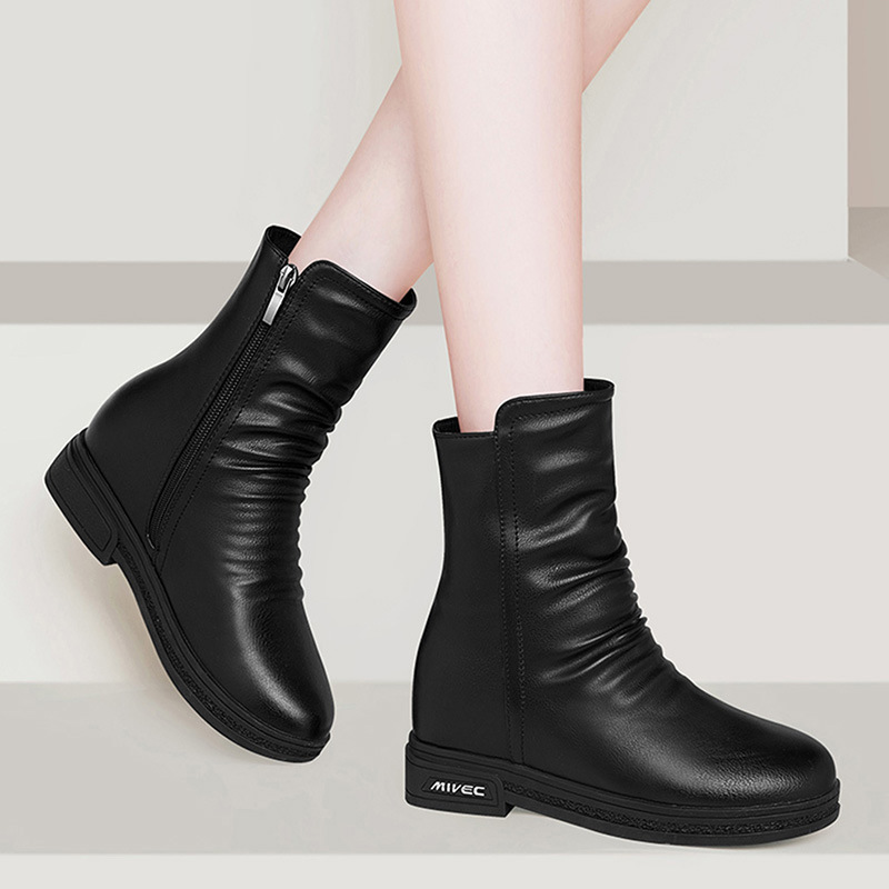 Gucci Tianlun Elevator Short Boots Women's Leather Boot 2019 Autumn And Winter New Style Tube Martin Boots Flat Boots WOMEN'S Sh