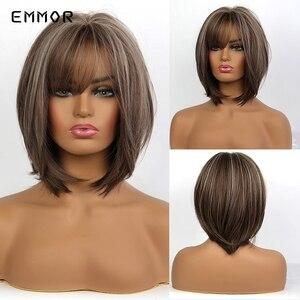 EMMOR короткий прямой светильник с коричневыми слоистыми волосами, высокий светильник s для женщин, термостойкие натуральные синтетические п...