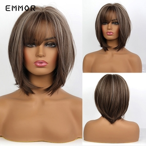 EMMOR Short Straight Light Brown Layered Hair with Highlights for Women Heat Resistant Natural Synthetic Bob Wigs with Bangs