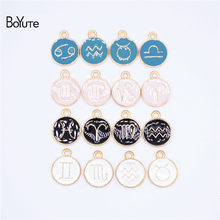 BoYuTe (12 Pieces/Set) Metal Alloy 4 Colors Enamel Zodiac Signs Charms Pendant Diy Hand Made Jewelry Accessories