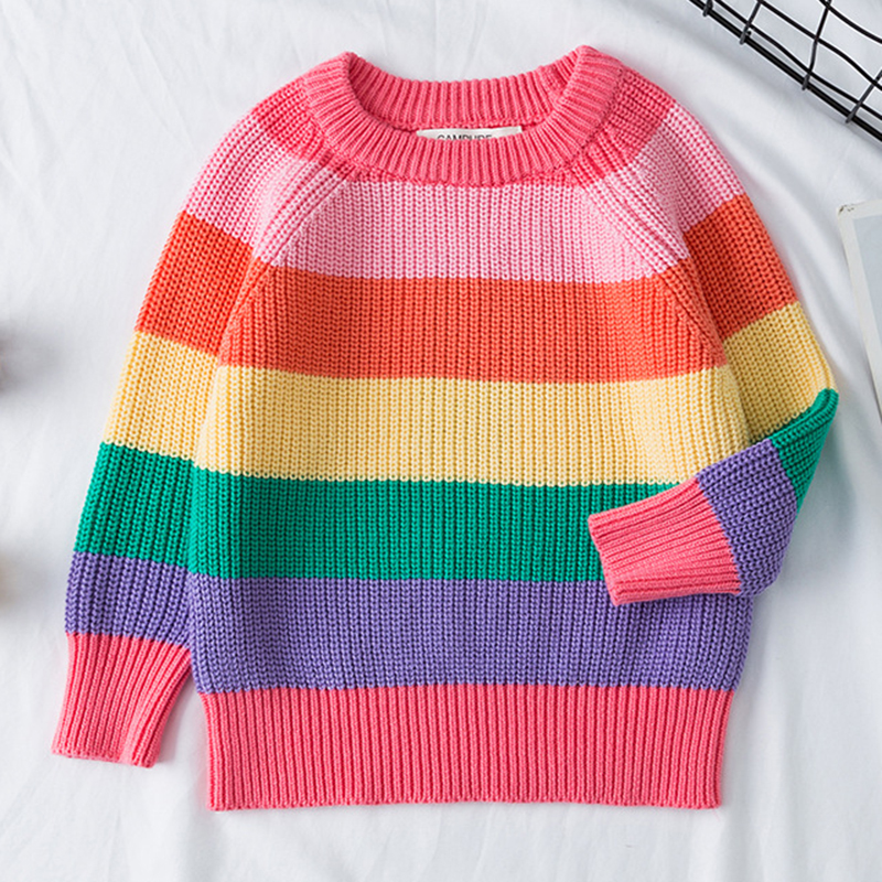 Baby Boys Girls Stripe Knitted Tops Sweater Outfits Christmas Baby Boy Winter Thick Knitted Clothes Girls Sweaters 3