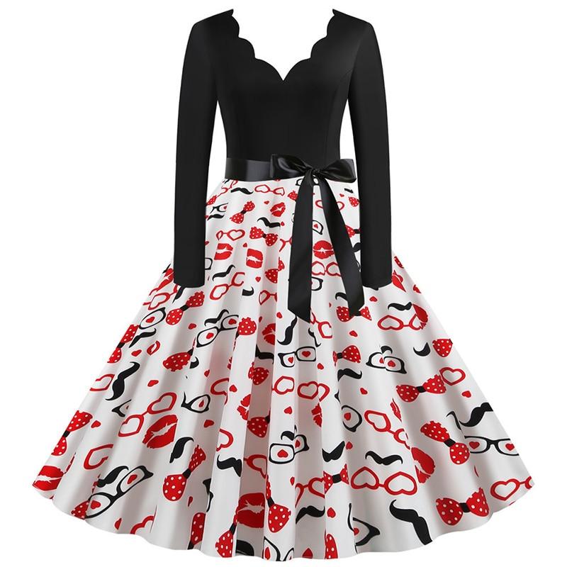 Women Long Sleeve Winter Vintage Dresses Sexy Black Music Note Print V-neck Rockabilly Pin up Party Dress Vestidos Plus size 619