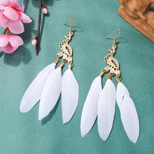 Creative metal peacock feather earrings Long  retro exotic wind cross-border dynamic earpiece jewelry