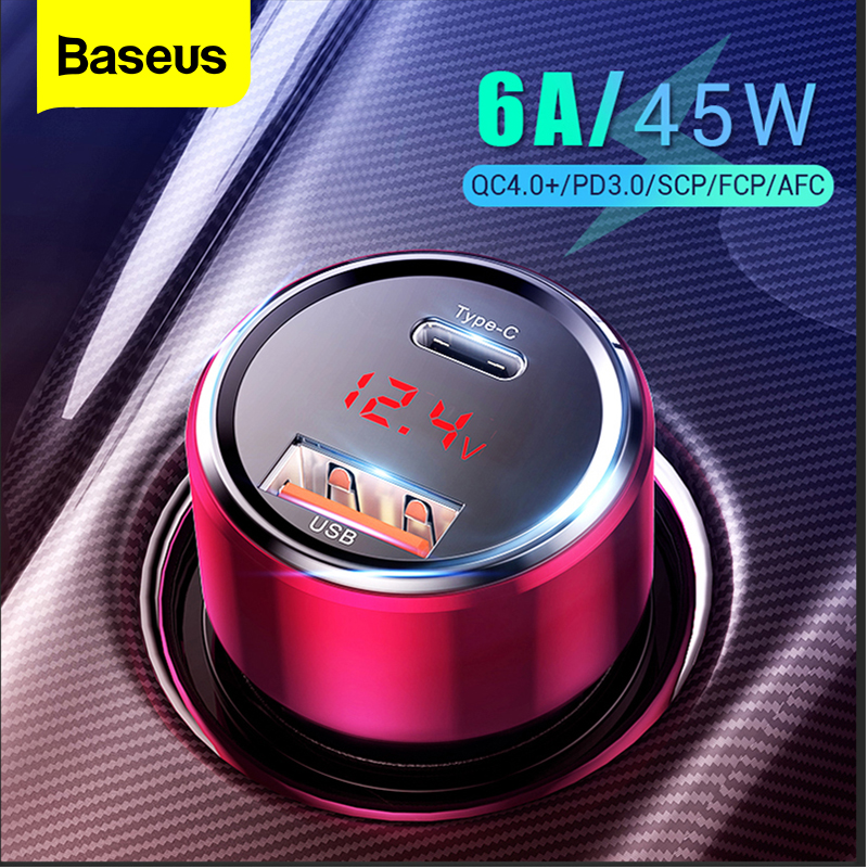 Baseus 45W Quick Charge 4.0 3.0 USB Car Charger For iPhone Xiaomi mi Huawei QC4.0 QC3.0 QC PD 6A Fast Charging Car Phone Charger