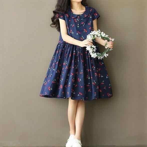 Japoński styl mori girl lato kobiety Kawaii sukienka kołnierz piotruś pan z wzorami wiśni biały niebieski słodkie sukienka eleganckie sukienki AE726
