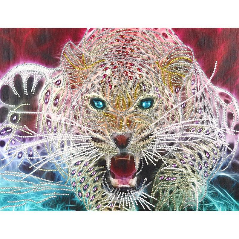 5D DIY Алмазная картина особой формы с изображением мультяшного животного тигра, вышивка крестиком, частичные специальные стразы, домашний декор