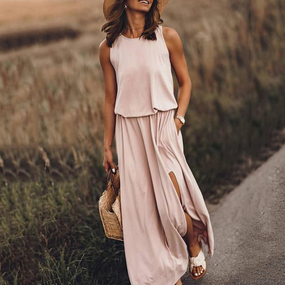 Hot Selling 2020 Europe And America WOMEN'S Dress Hot Selling Crew Neck Sleeveless Slit Solid Color Dress