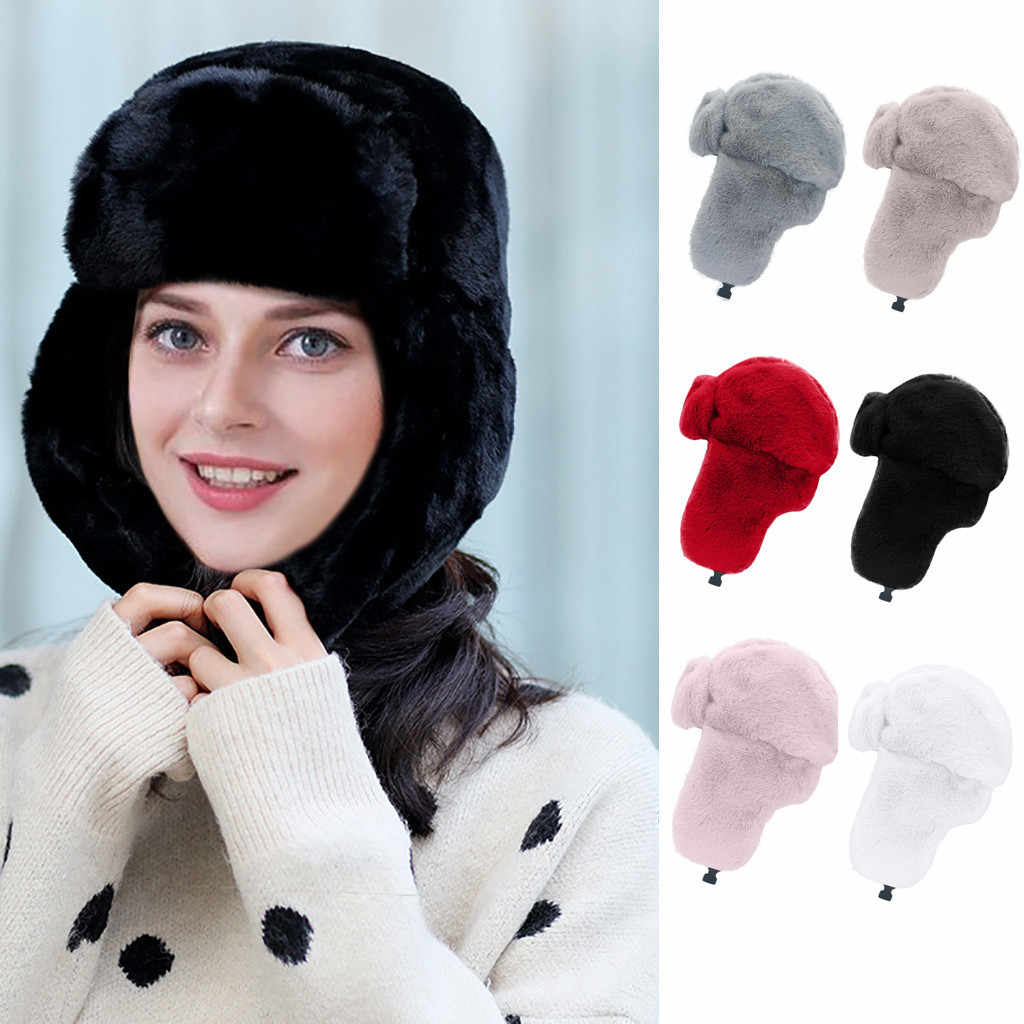 2019 New Hats Faux Fur Keep Warm Winter Casual Wool Knitted Hat Furry Earmuffs Hemming Caps Thicken Solid Ski Hat шапка женская