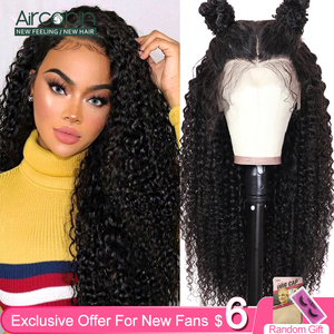 Aircabin 32 30 Inch Curly Wave 13x6 lace Front Wigs Brazilian Human Hair Deep Part Lace Wigs For Women 150 Density Non-Remy(China)