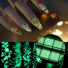 1 Box of 12 Grid Luminous Nail Polish Sequins Mixed Set Glamour Art Deco Nail Art Star Flower Butterfly Shape Nail Sequins