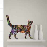 Creative Ethnic Unique style Cat animal Wall Stickers Flower Pattern Cat Decals For Home Living Room Art Vinyls Wall Decor Mural