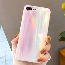 Phone Case For iPhone 6 6S 7 8 Plus Beautiful White Aurora Holographic Laser Soft IMD Back Cover X XS MAX Cases