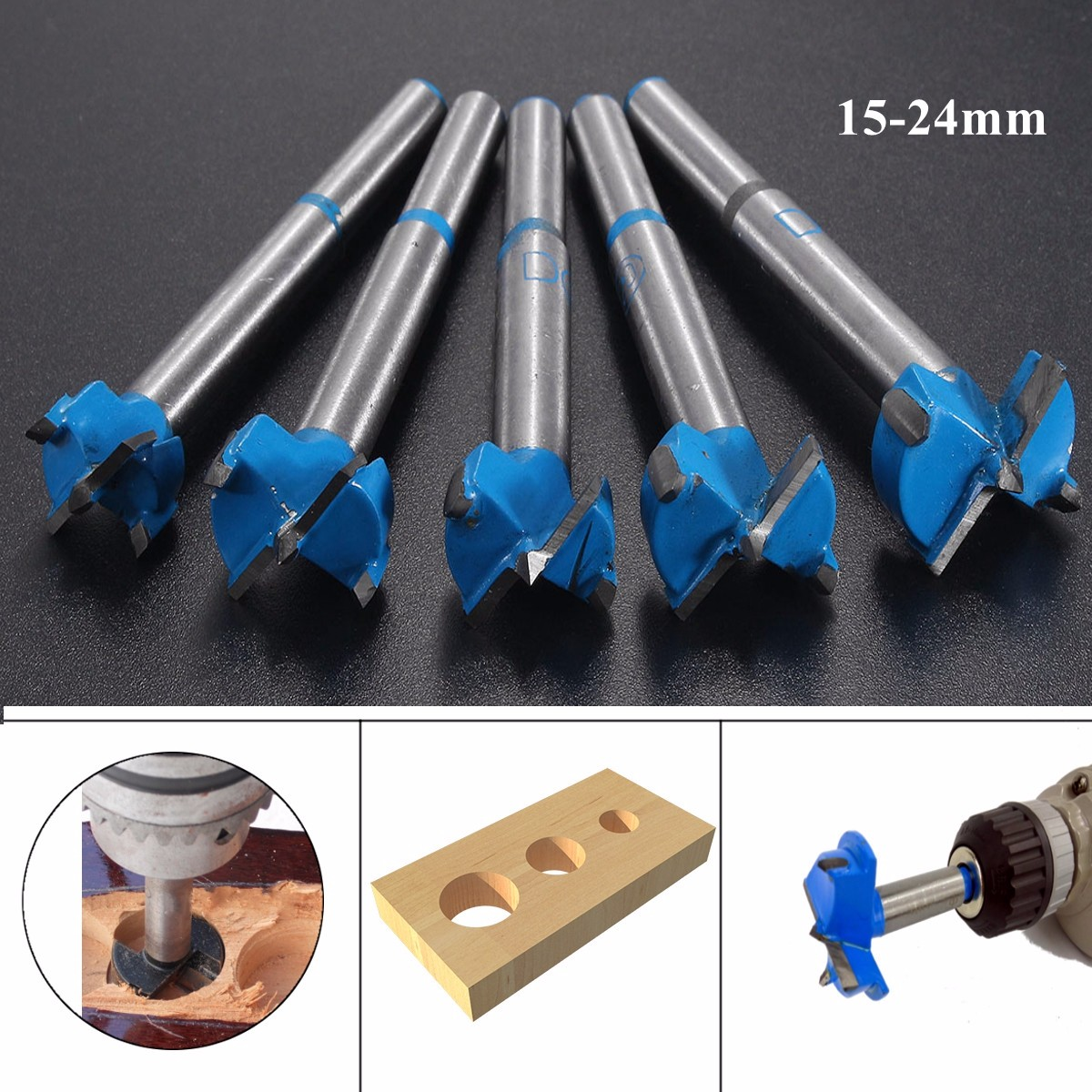 15-24mm Wood Hinge Boring Hole Saw Drill Bit Carbide Cutter Auger Drill Bit