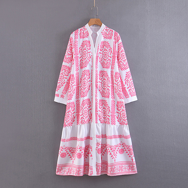 2019 Western Style Spring And Summer WOMEN'S Dress New Style Long Sleeve Powder Printed Long Loose-Fit Dress
