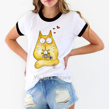 Cute cat and mouse print t-shirt women funny t shirts harajuku kawaii top women's summer clothing 2019 tumblr tshirt plus size