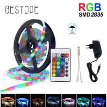 Fita LED RGB impermeável SMD 2835, tira de luzes 5 m, 10 m, 15 m, 20 m, DC 12V, controlador flexível