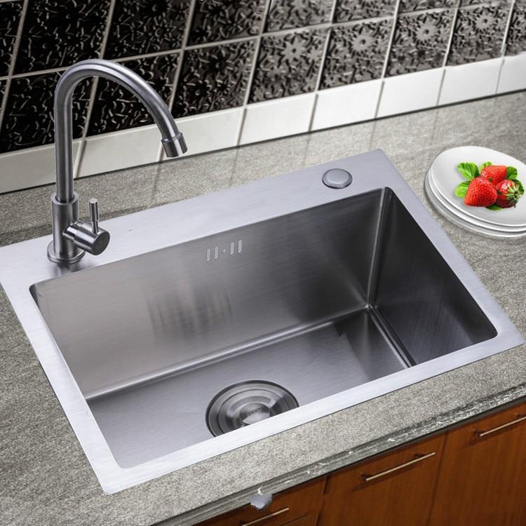 kitchen sink single basin dull polish craft stainless steel sink kitchen washing basin sink