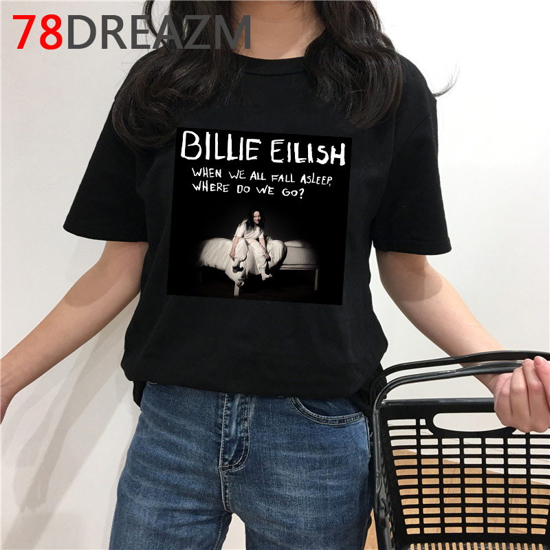 Billie Eilish T Shirt Men Hip Hop Summer Top T-shirt Harajuku Kawaii Cartoon Bad Guy Funny Graphic Tees Unisex Oversized Male