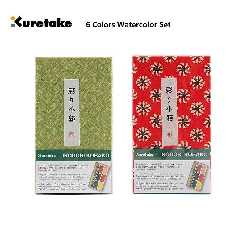 ZIG Kuretake портативная маленькая красная краска в подарок, 6 цветов, высококачественный пигмент, однотонная Акварельная краска, китайские прин...
