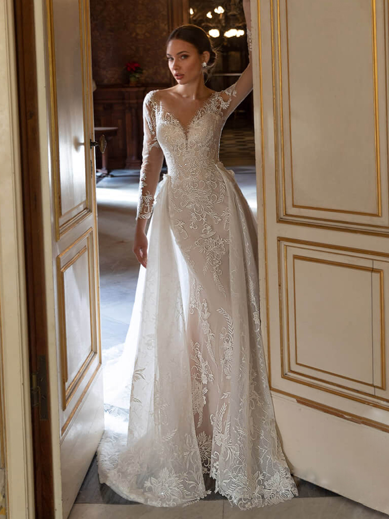 Bridal-Gown Detachable Train Wedding-Dress Neck-Beading Mermaid Long-Sleeve Adoly Mey
