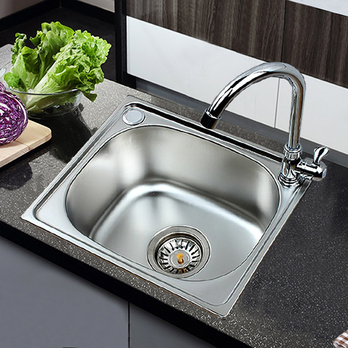 Kitchen Sink Washing-Basin Stainless Steel Inset Single Bowl Laundry Catering Topmount Square Drainer Vegetable Washing Basin