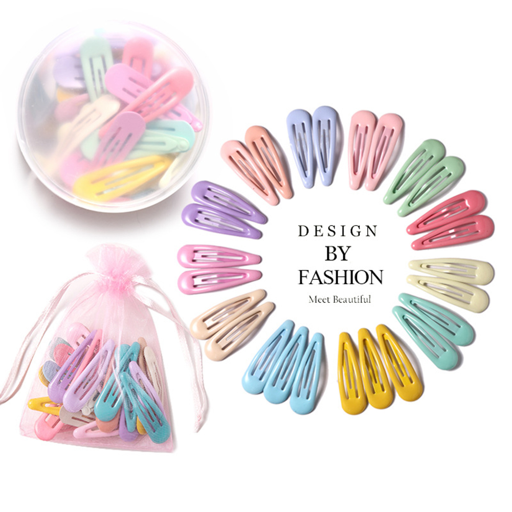 1 Pcs Child Kids Metal Alloy Water Drop Shape Hair Clips Oil Baking Paint Candy Colored Snap Barrettes Princess BB Hairpins