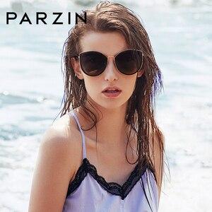 Image 2 - PARZIN 럭셔리 편광 선글라스 여성 경량 TR90 프레임 코팅 미러 렌즈 여름 여성 선글래스 브랜드 디자이너