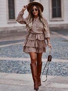 Dress Casual Cascading Long-Sleeve A-Line Vestidos Party Polka-Dot Ruffle Female Mini