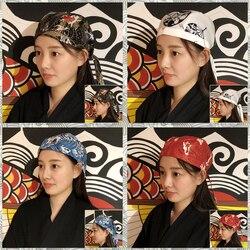 14 Kleur Restaurant Kok Chef Cap Print Sushi Japanse Stijl Werkkleding Uniform Food Service Verstelbare Size Pirate Hoed