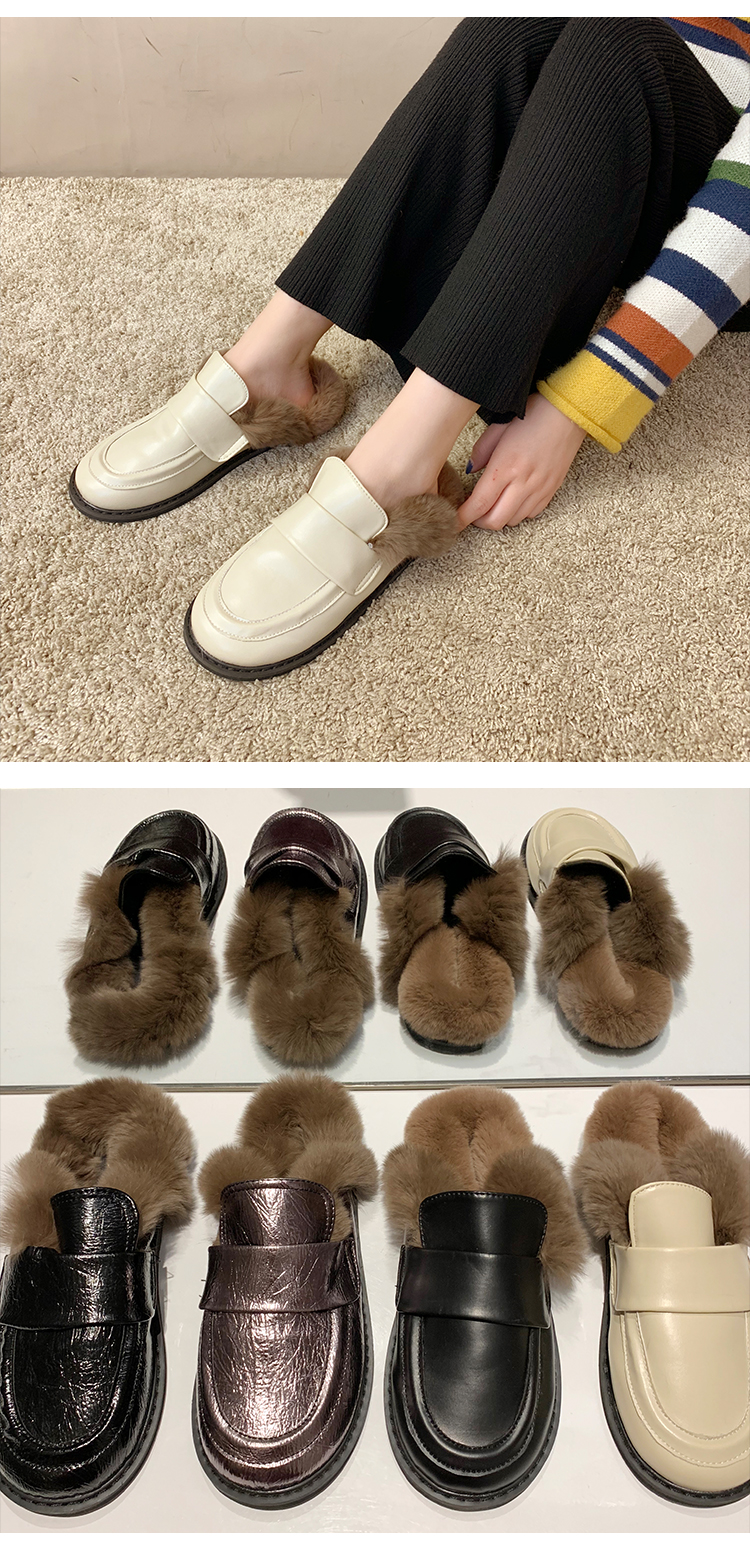 Cover Toe Female Shoes Loafers Womens Slippers Outdoor Mules Sexy Platform Slides Fur Flip Flops 2019 Soft Flat Plush PU with 34