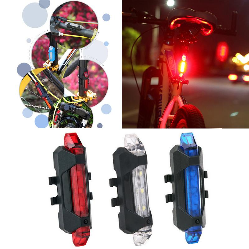 I Pcs LED USB Rechargeable Bicycle Light Waterproof Rear Tail Light Mountain Bike Cycling Light Taillight Safety Warning Light