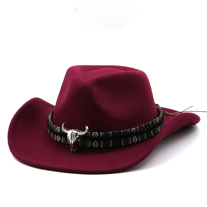 Casual Retro Cashmere Cowboy Hat Curled Jazz Top Hat Felt Outdoor Trend Hipster