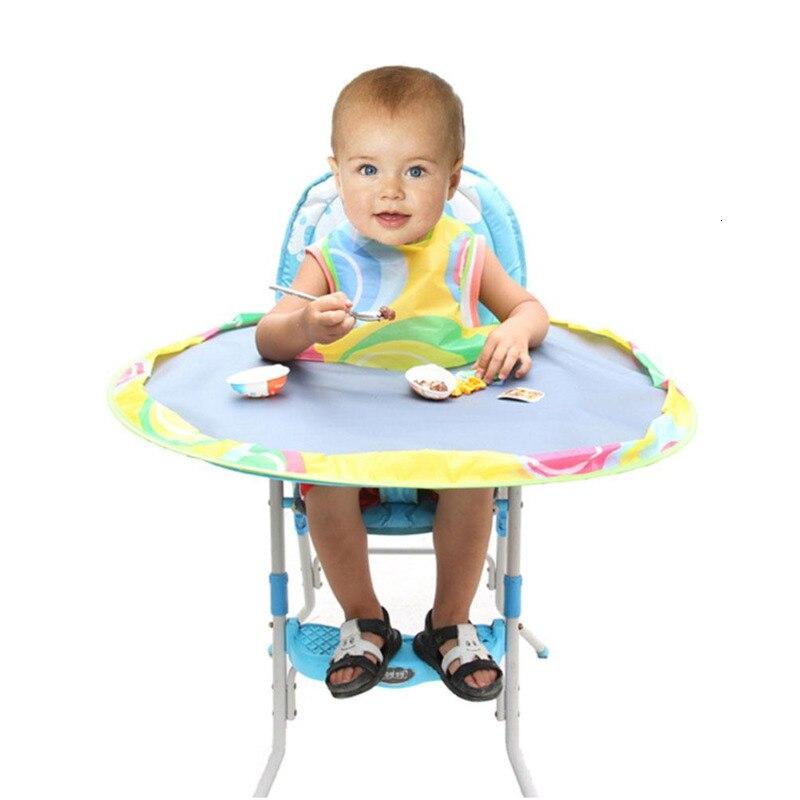 Коврик для кормления ребенка с блюдцем, чехол для стульчика, непромокаемый коврик для стола, ткань Оксфорд, Круглый складной стул для