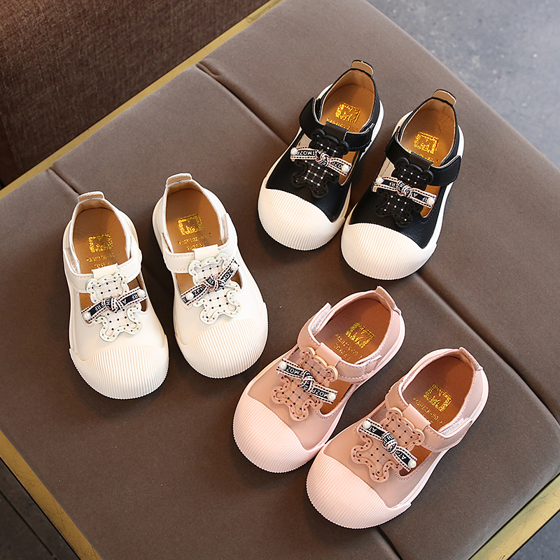 Spring Girls Leather Shoes Princess Cute Bowtie Cartoon Anti-slip Baby Single Shoes Infant Toddler Girl Shoes Sneakers SYJ014