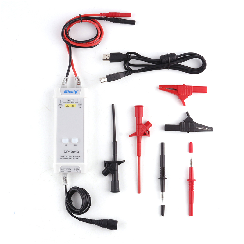 1300V 100MHz High Voltage Differential Probe Kit 3.5ns Rise Time Oscilloscope Probe Accessories 50X/500X Attenuation Rate