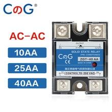 Cg SSR-10AA 25aa 40aa ssr monofásico jgx controle ac dissipador de calor 70-280vac a 24-480vac 10a 25a 40a aa relé de estado sólido