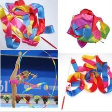 4m Colorful Gym Ribbons Dance Ribbon Rhythmic Art Gymnastic Ballet Streamer Twirling Rod Stick Sports Professional Training Tool