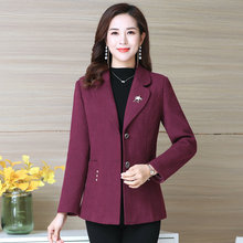 Women Elegant Tweed Blazers Shawl Collar Red Purple Orange Green Smart Busines Casual Blazer Suit With Pocket Outerwear Woman