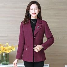 Women Elegant Tweed Blazers Shawl Collar Red Purple Orange Green Smart Busines C