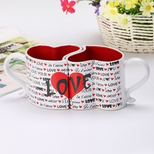 Nordic 2pcs / set 300ml creative ceramic couple cups love hearts shape porcelain couple coffee cup for girlfriend birthday gifts