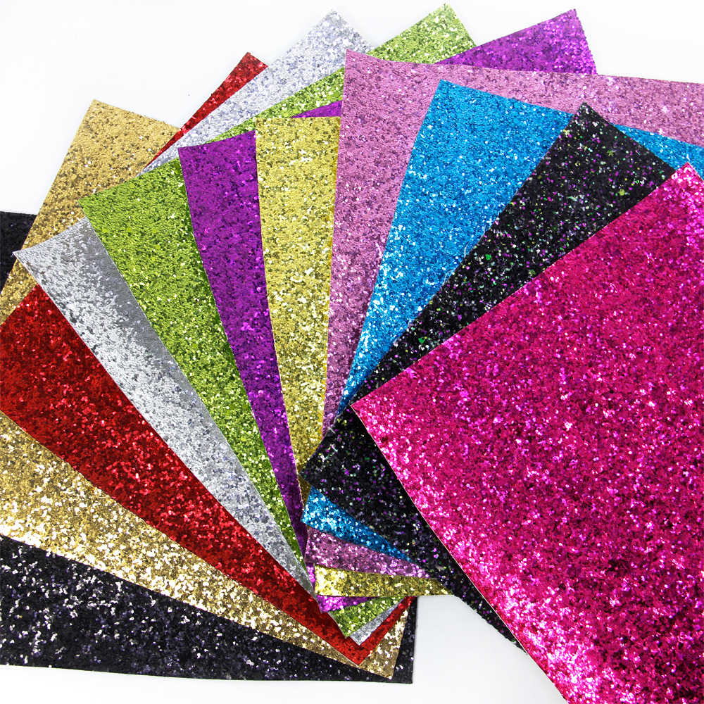 David accessories 20*34cm Shiny Chunky Glitter Synthetic Leather Fabric for Wallpaper Covering Bag Shoes DIY Decoration,1Yc5788