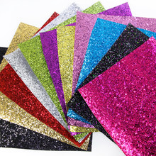 David accessories 20*34cm Shiny Chunky Glitter Synthetic Leather Fabric for Wallpaper Covering Bag Shoes DIY Decoration,1Yc5788(China)