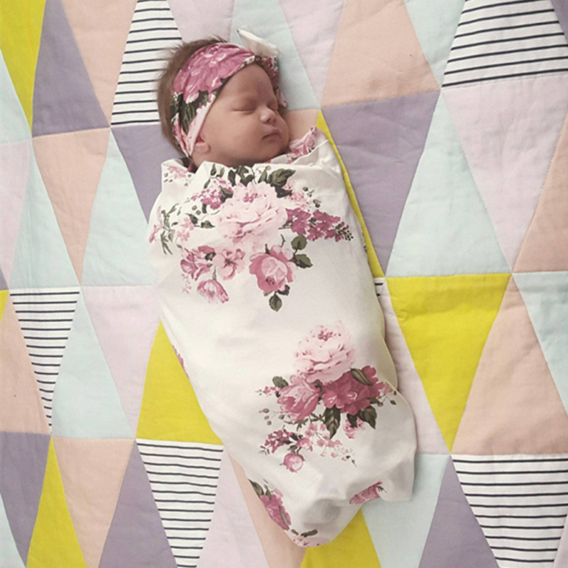 Newborn Infant Floral Print Baby Sleeping Blanket Floral Headband 2 Piece Swaddlings Baby Blankets Newborn Bedding Baby Wrap