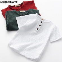 Linen 2021 Cotton Baby Boy Girl Summer T Shirts New Toddler Comfortable Tops Tee Children Clothing Kids Button 90-140CM Height