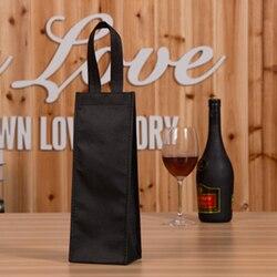 Czarny wielokrotnego użytku torba na prezent pojedyncza butelka wina Tote uchwyt winnicy torba na drobiazgi pojedyncze opakowanie zestaw Pokrowce na butelki wina    -