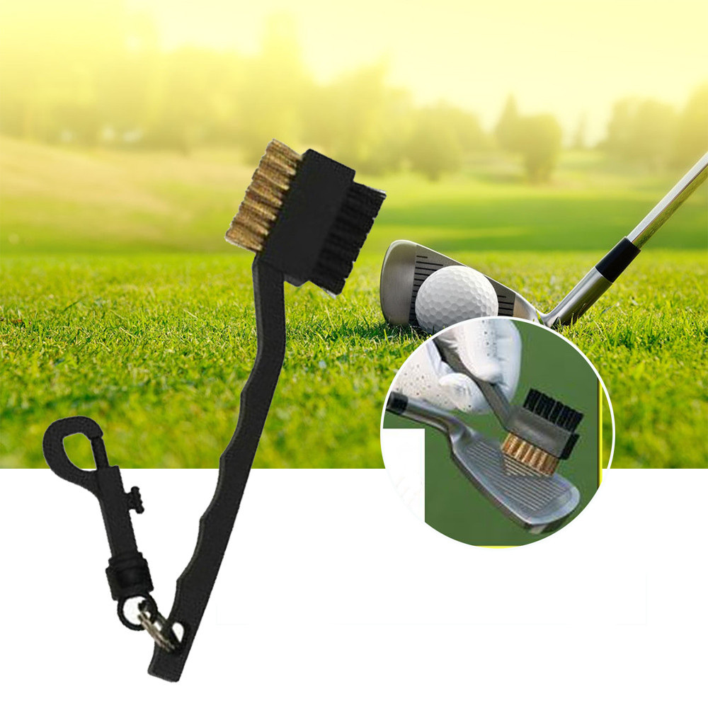 Golf Club Cleaner Brush Nylon Brass Groove Cleaner Dual-Bristle For Outdoor Golf Stuff 1Pc With Clip  Randomly
